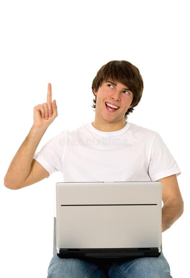 bärbar datorman som pekar barn royaltyfri foto