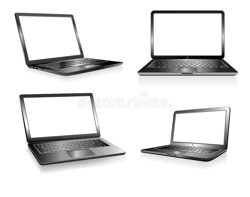Bärbar datorPCdator, anteckningsbok, teknologielektronik, datorer stock illustrationer