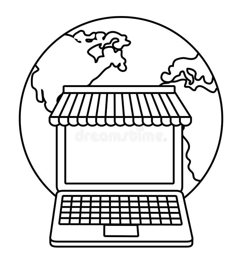 Bärbar datorplanet som shoppar online-symbolen som stylized swirlvektorn för bakgrund det dekorativa diagrammet vågr royaltyfri illustrationer