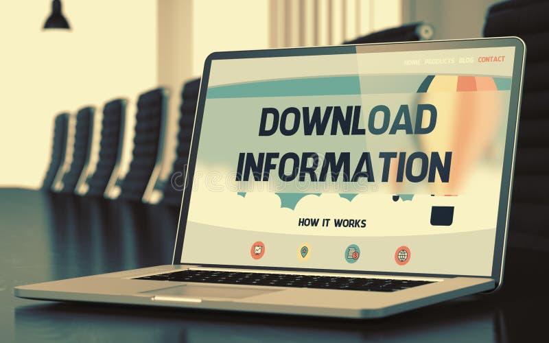 Bärbar datorskärm med informationsbegrepp om nedladdning 3d stock illustrationer