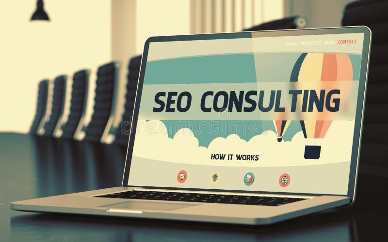 Bärbar datorskärm med SEO Consulting Concept 3d stock illustrationer