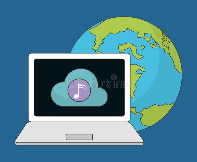 Bärbar datorsymbol Musik direktanslutet och teknologi som stylized swirlvektorn för bakgrund det dekorativa diagrammet vågr royaltyfri illustrationer