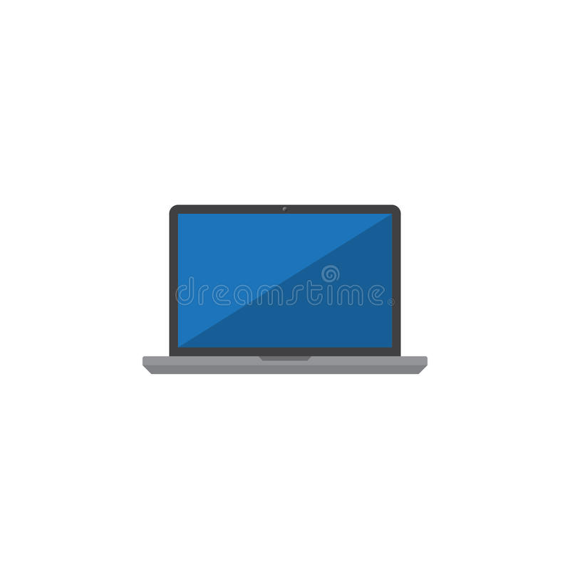 Bärbar datorsymbolsvektor, fast logoillustration, färgrik pictogram stock illustrationer