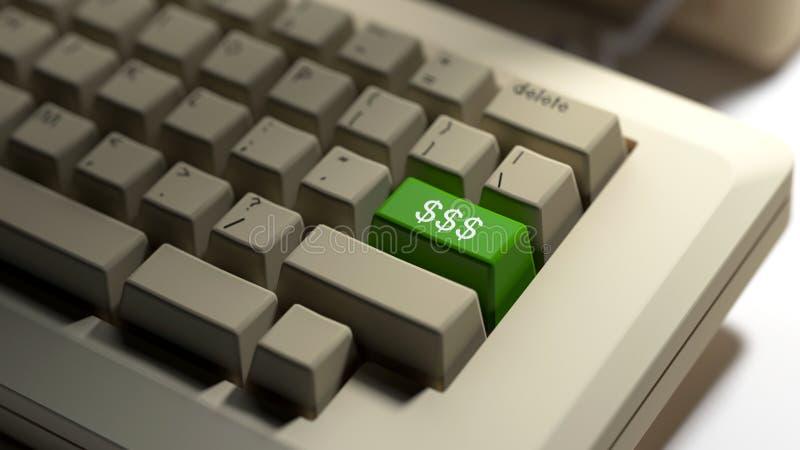 Bärbar datortangentbord med en dollarsymboltangent arkivbilder