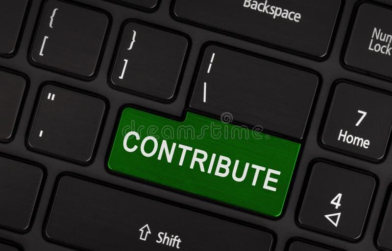 Bärbar datortangentbordet - bidra (den gröna tangenten) fotografering för bildbyråer