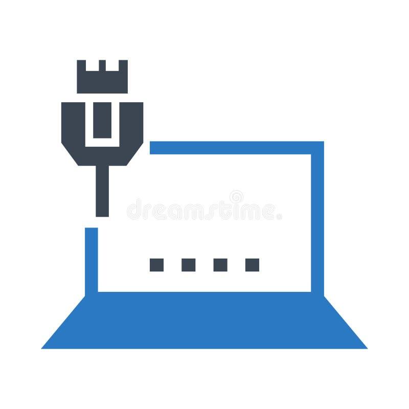 Bärbar datortrådskåror dubblerar färgsymbolen royaltyfri illustrationer