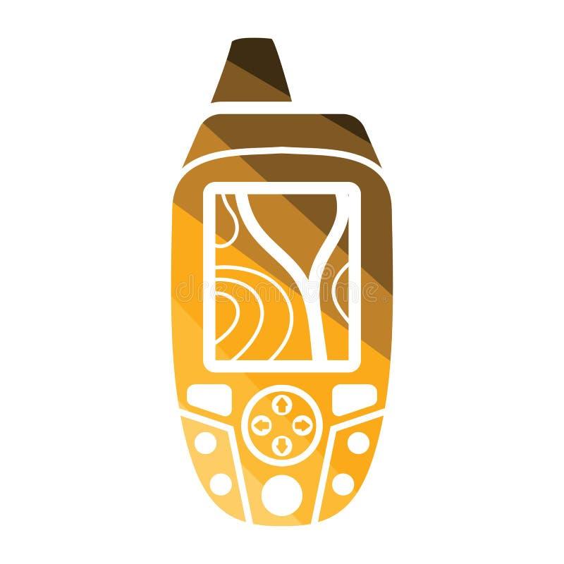 Bärbar GPS apparatsymbol vektor illustrationer