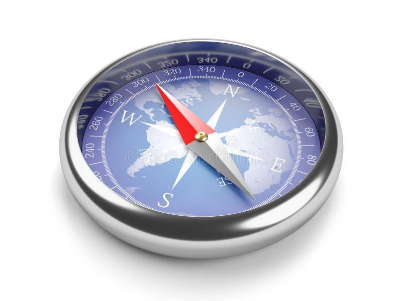 Bärbar klassisk kompass 3d stock illustrationer