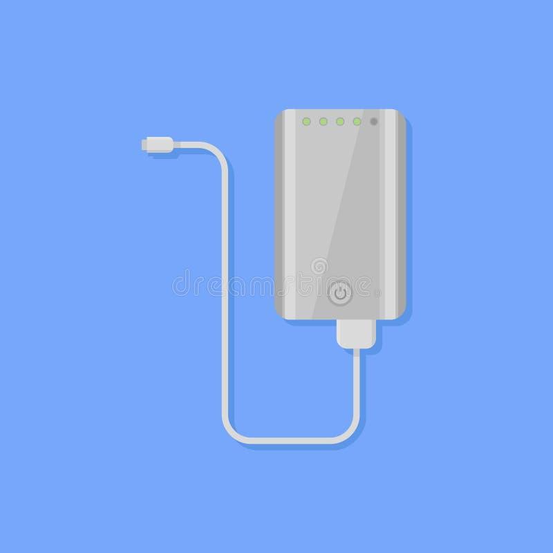Bärbar maktbank med symbolen för kabellägenhetstil också vektor för coreldrawillustration stock illustrationer