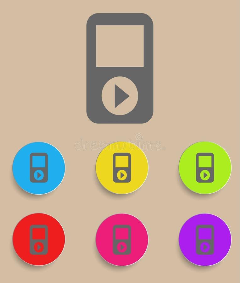 Bärbar musikalisk spelare med färgvariationer, vektor illustrationer
