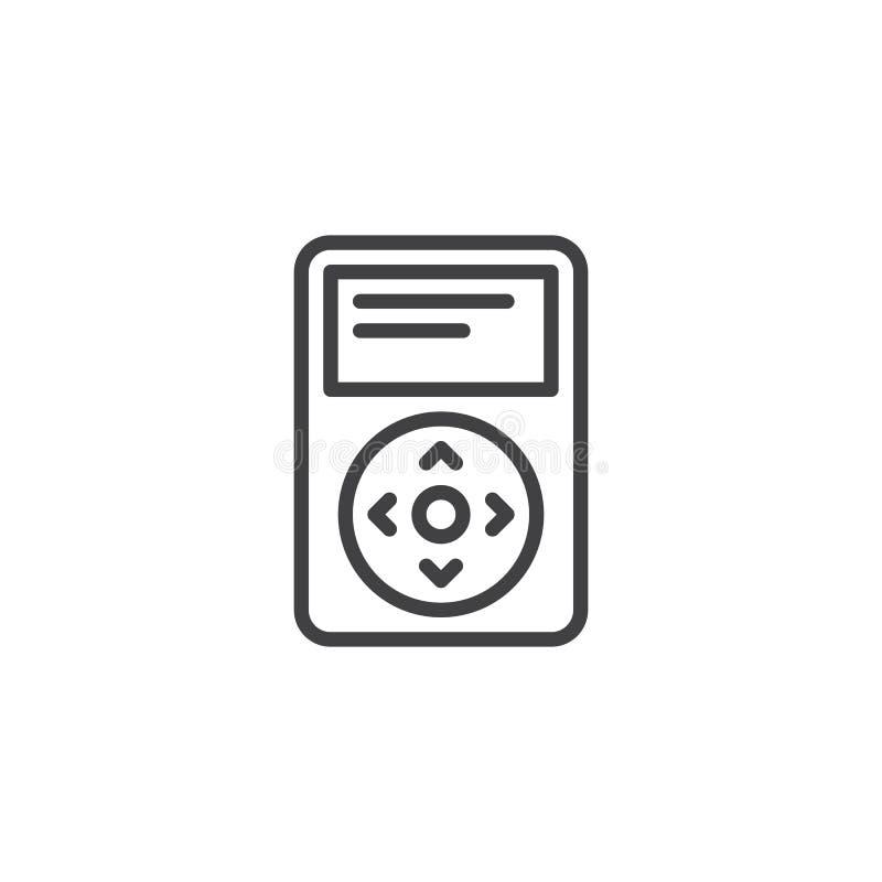 Bärbar musikalisk spelarelinje symbol stock illustrationer
