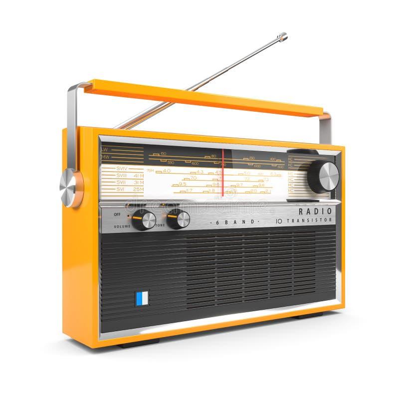 Bärbar orange transistormottagare Isolerat på vit bakgrund 3D stock illustrationer