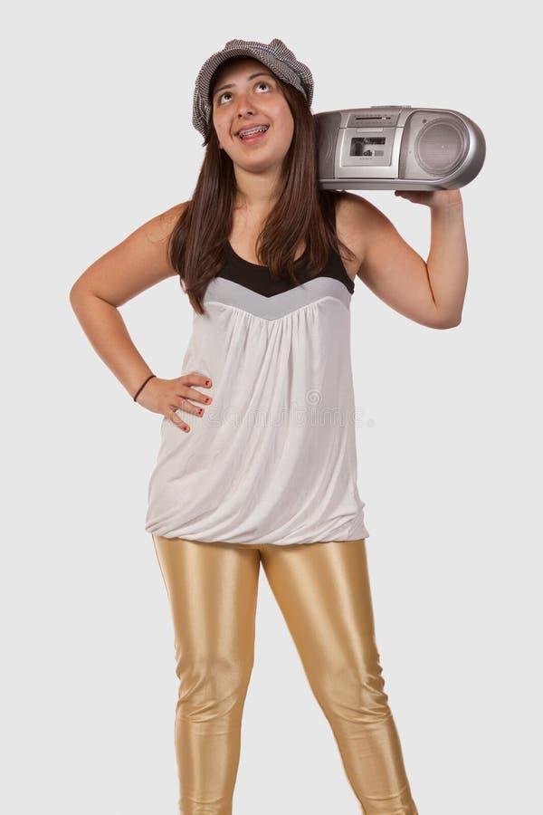 bärbar radio för flicka royaltyfri fotografi