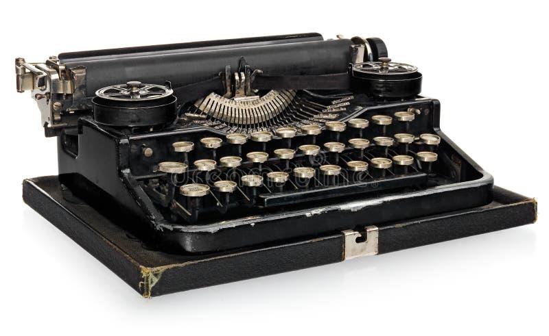 Bärbar skrivmaskin för gammal antik tappning, med det polska alfabetet ke royaltyfri bild