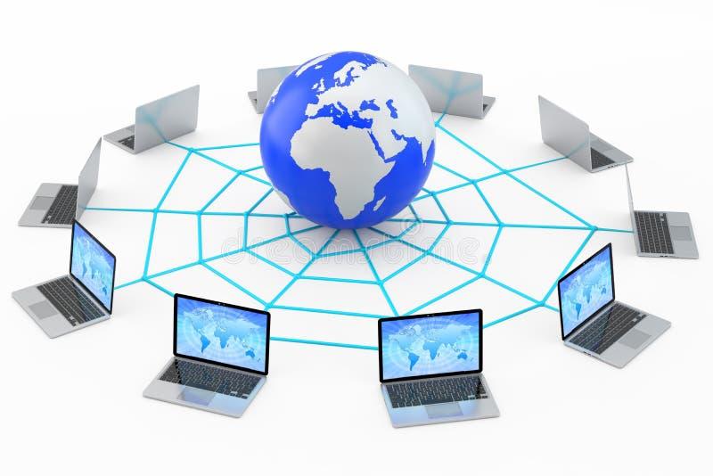 Bärbara datorer förbindelse till internetworld wide web stock illustrationer