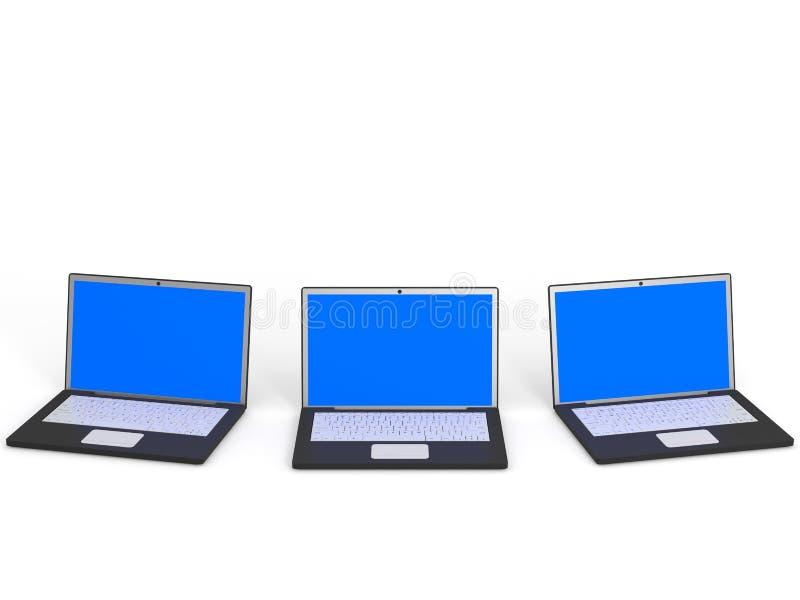 Bärbara datorer med den blåa skärmen på vit bakgrund royaltyfri illustrationer