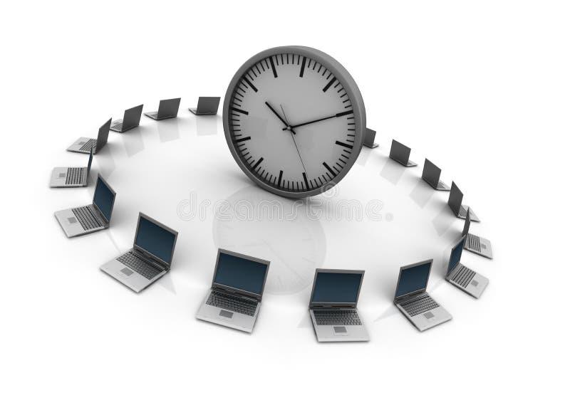 Bärbara datorer med klockan stock illustrationer