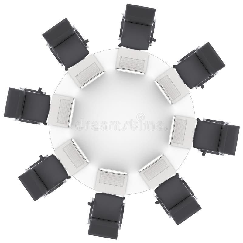 Bärbara datorer på tabellen och stolarna för kontor den runda stock illustrationer