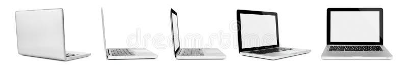 Bärbara datorer på vit bakgrund royaltyfria bilder