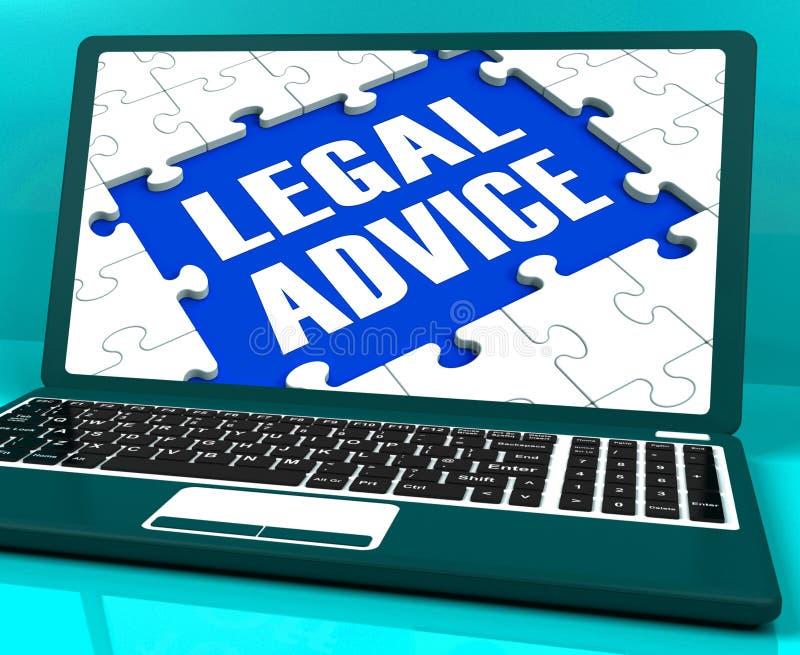 Bärbara datorn för laglig rådgivning visar den brottsliga advokaten Expert Guidance royaltyfri illustrationer