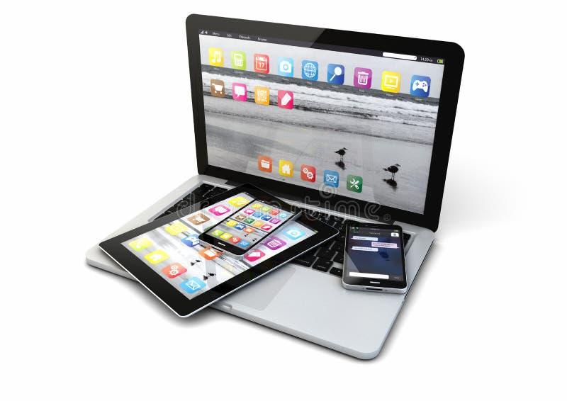 Bärbara datorn ilar telefoner och minnestavlaPC arkivfoton