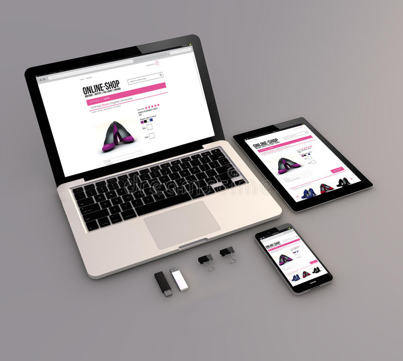 Bärbara datorn, minnestavlan och smartphonen shoppar direktanslutet royaltyfri illustrationer