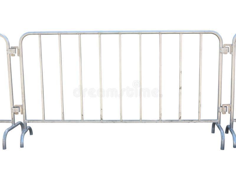 Bärbart metalliskt staket som isoleras över vit arkivfoto