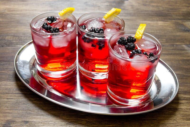 Bärcoctailar i exponeringsglas med is och citronen på trätabellen royaltyfria bilder