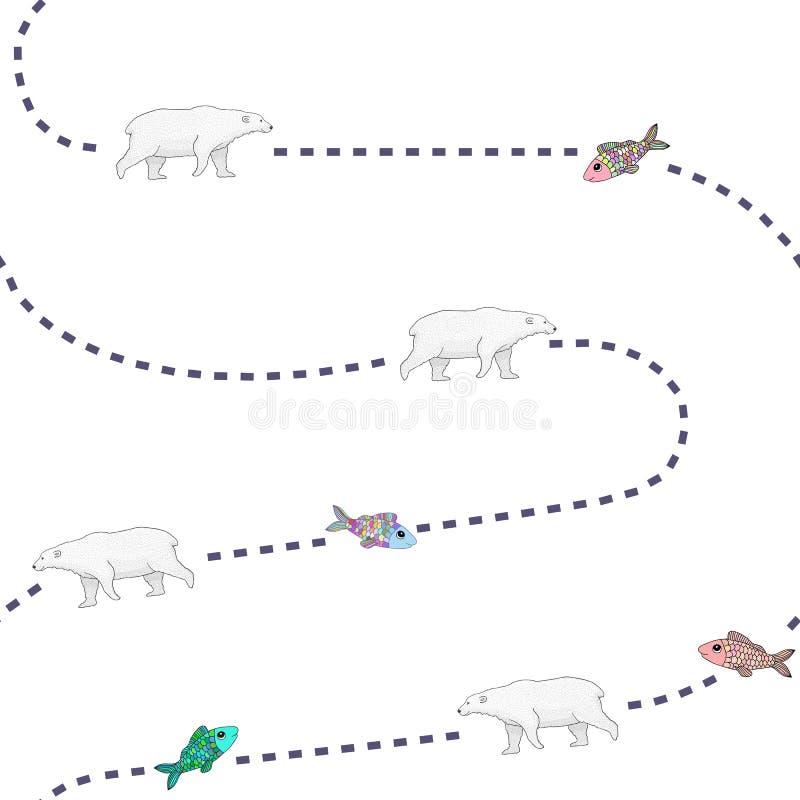 Bären jagen Fischmuster lizenzfreie abbildung
