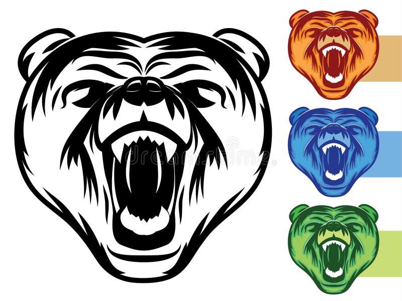 Bären-Maskottchen-Ikone stock abbildung