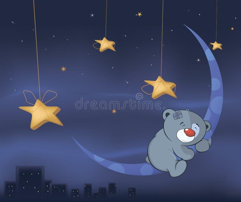 Bärenjunges und die Mondkarikatur lizenzfreie abbildung