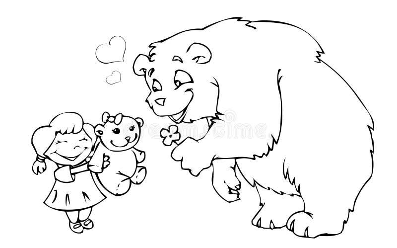 Bärenmädchen und -Teddybär lizenzfreie abbildung
