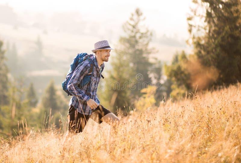 Bärgad turistman i hatt med ryggsäck som vandrar i bergsområden, manliga kejsar från Kaukasien utomhus arkivbild