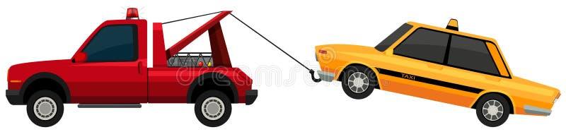 Bärgningsbil som drar den gula taxien vektor illustrationer