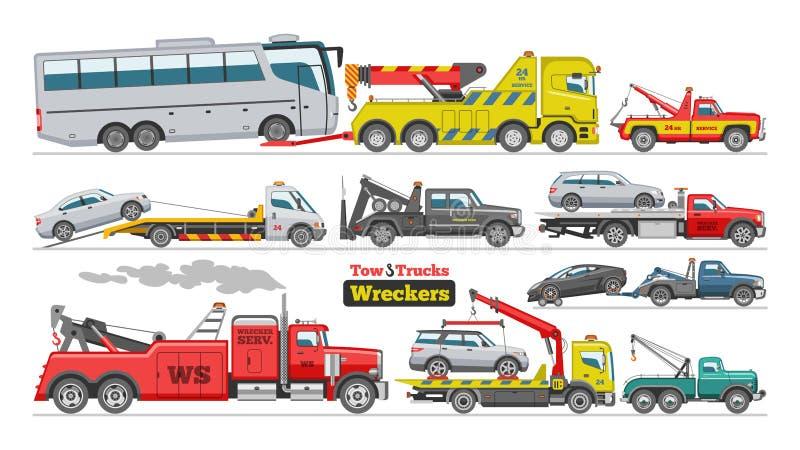 Bärgningsbilvektor som bogserar hjälp för towage för trans. för buss för biltransportmedel på vägillustrationuppsättning av den b stock illustrationer
