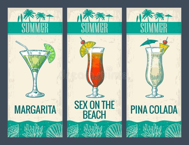 Bärkylarecoctail, martini, mojito, Pina Colada Margaritan könsbestämmer på stranden, pinacolada vektor illustrationer