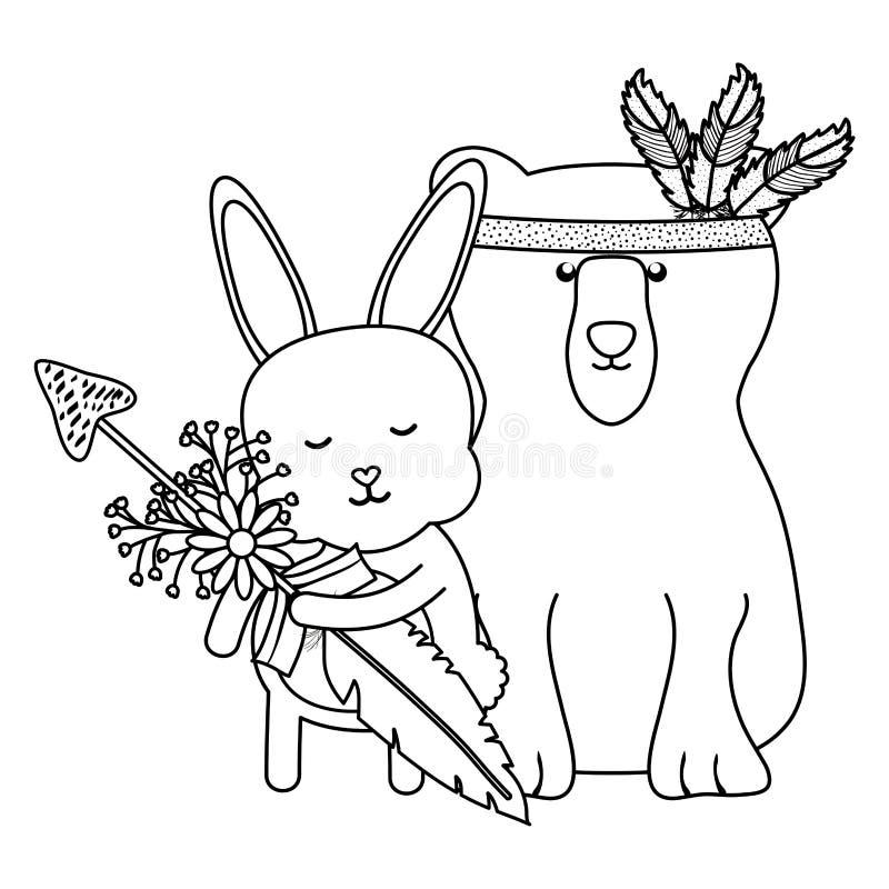 Bärngraubär und -kaninchen mit böhmischer Art des Pfeiles vektor abbildung