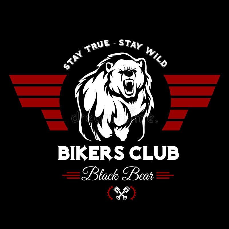 Bärnradfahrervereint-stück Druck-Vektordesign T-Shirt Emblem lizenzfreie abbildung