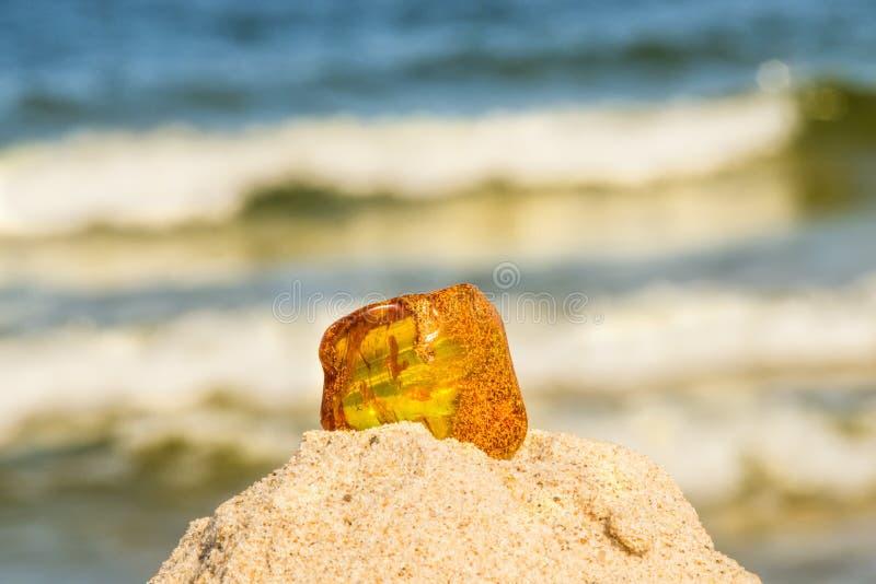 Bärnsten på en strand av Östersjön arkivfoton