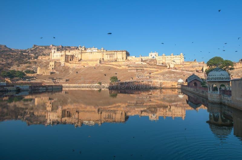 Bärnstensfärgad fort, Jaipur, Indien royaltyfria foton