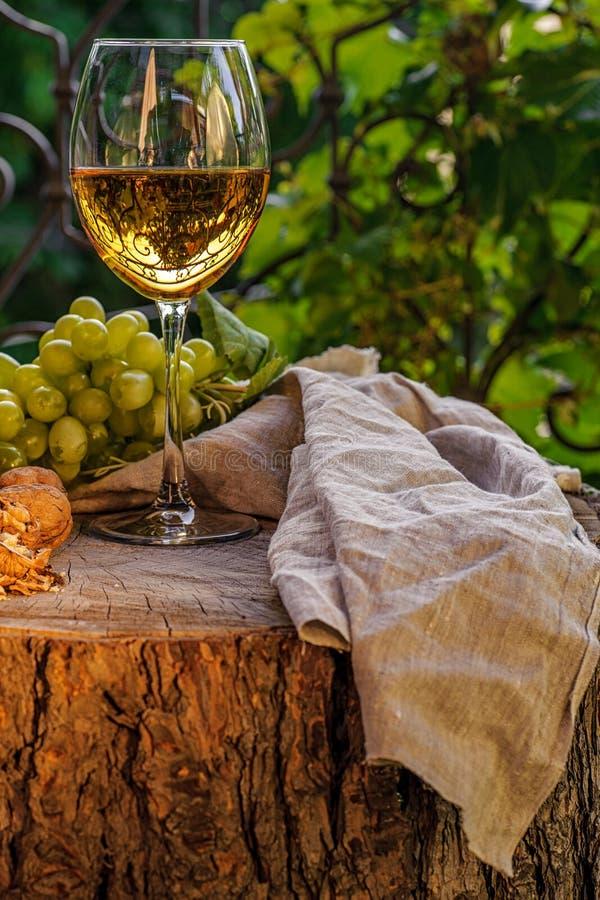 Bärnstensfärgat vin i exponeringsglaset royaltyfri foto