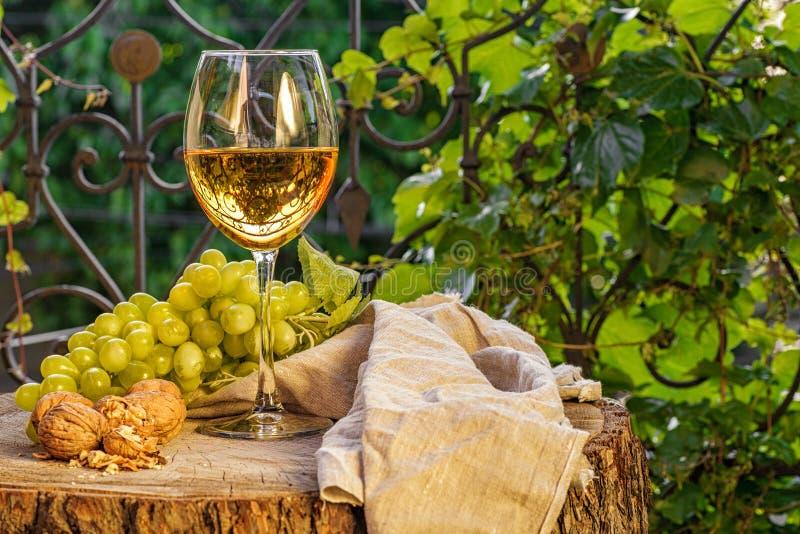Bärnstensfärgat vin i exponeringsglaset royaltyfri fotografi