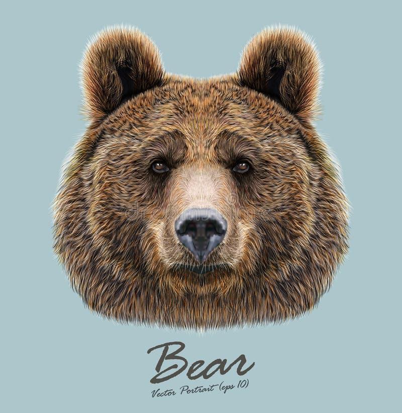 Bärntiergesicht Graubärbraunbär-Hauptporträt Realistisches Pelzporträt von betreffen blauen Hintergrund stock abbildung