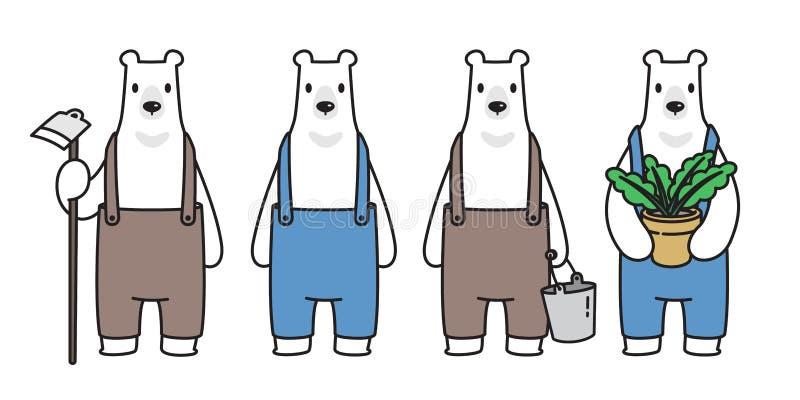 Bärnvektor Eisbär-Landwirtanlage wachsen Zeichentrickfilm-Figur-Ikonenlogoillustrations-Symbolgekritzel vektor abbildung