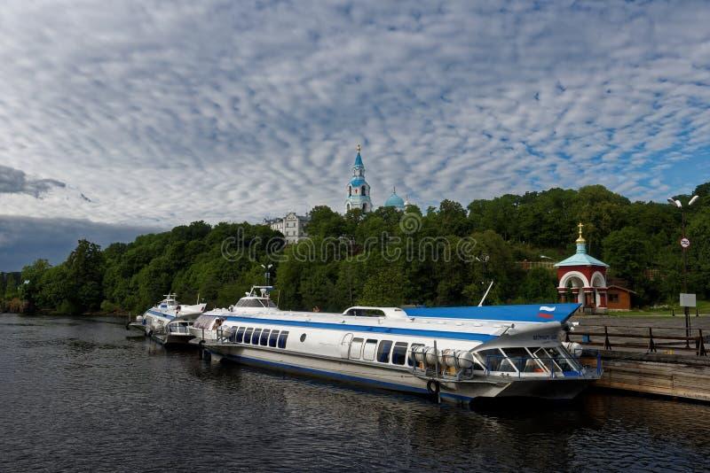 Bärplansbåtar på den Valaam ön, Ryssland fotografering för bildbyråer