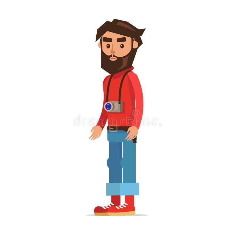 Bärtiger Hippie-Mann mit Kamera-Zeichentrickfilm-Figur stock abbildung
