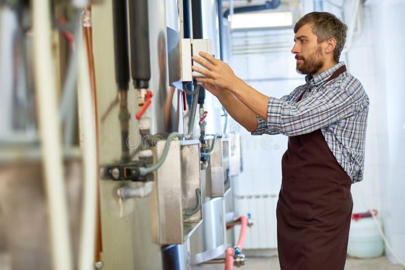 Bärtiger Ingenieur Working an der Brauerei lizenzfreies stockbild