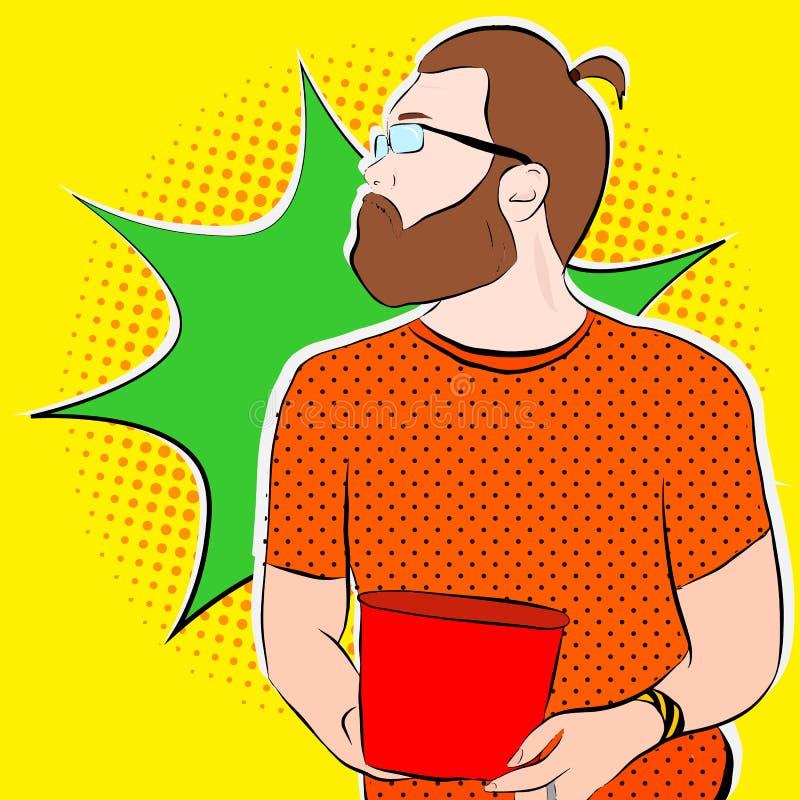 Bärtiger Mann in den Gläsern herein vektor abbildung