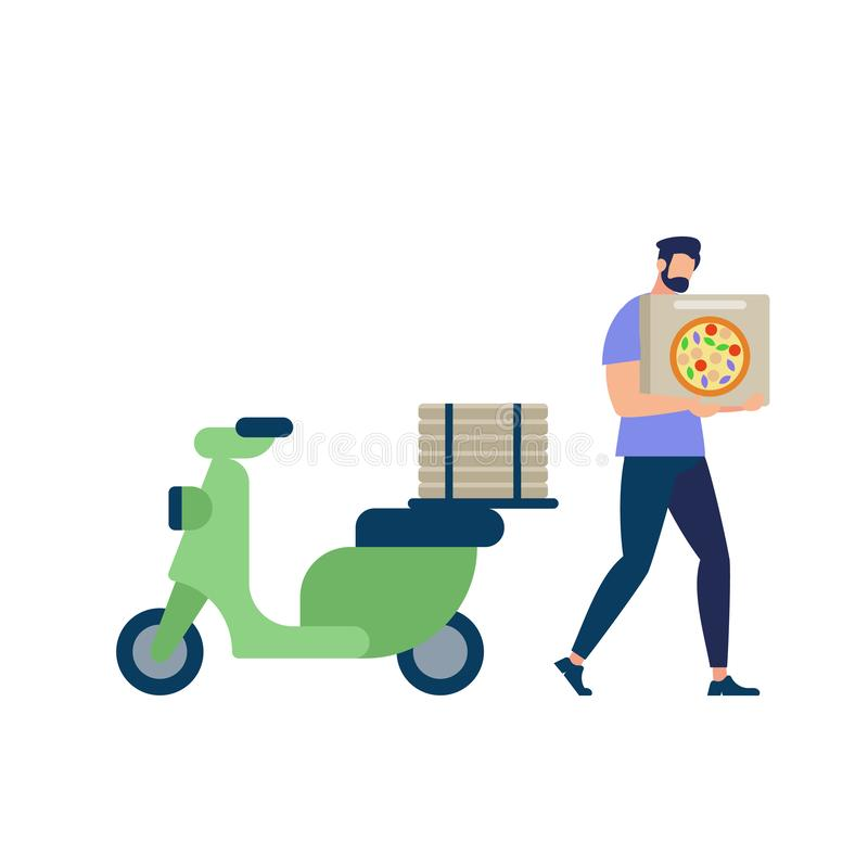 Bärtiger Mann, der blaues Hemd Carry Pizza Box trägt vektor abbildung