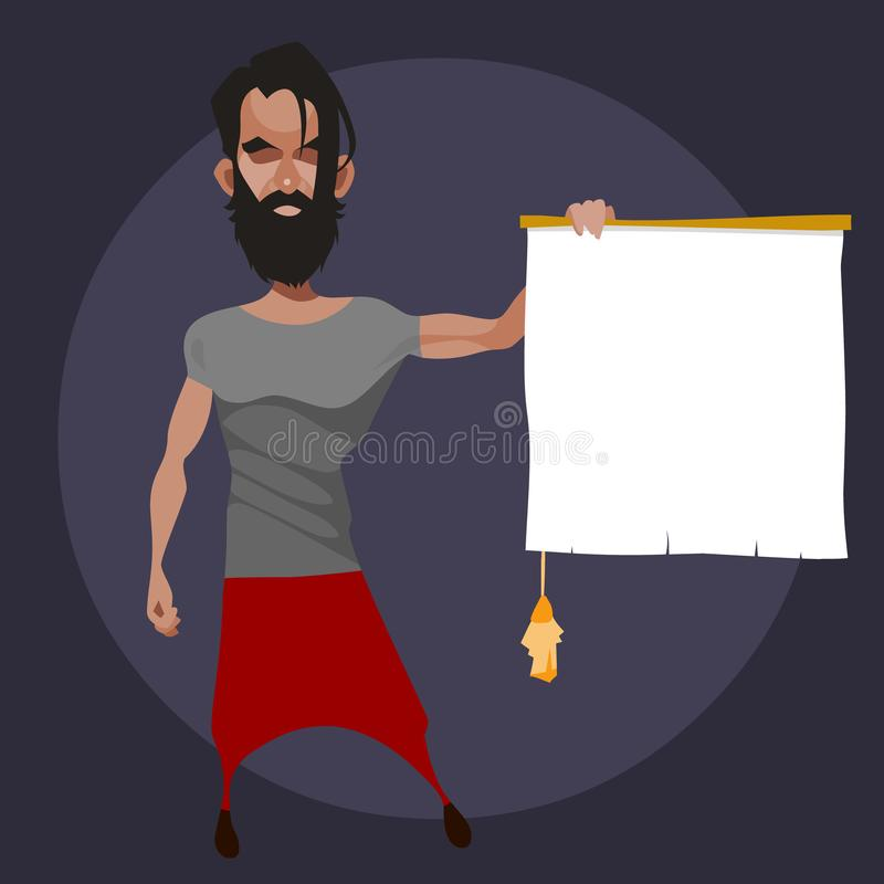 Bärtiger Mann der Karikatur hält in seiner Hand eine leere Rolle mit einer Quaste lizenzfreie abbildung